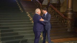 Justin Trudeau arrives at Queen's Park for meeting with Doug Ford