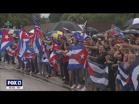 Protesters Line Tampa Street In Support Of Cubans