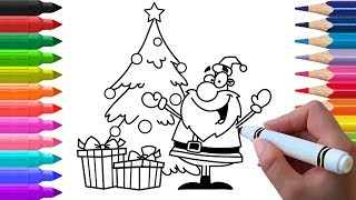 Santa Clause With Gifts And Christmas Tree Drawing