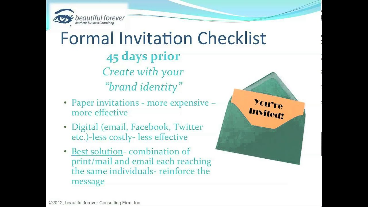 Awesome Aesthetic Business   Planning A Successful Event Part 8   Formal Invitation  Checklist  Business Event Invitation
