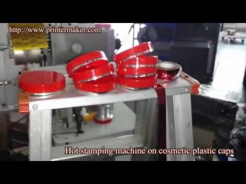 Hot Foil Stamping Machine On Cosmetic Plastic Caps