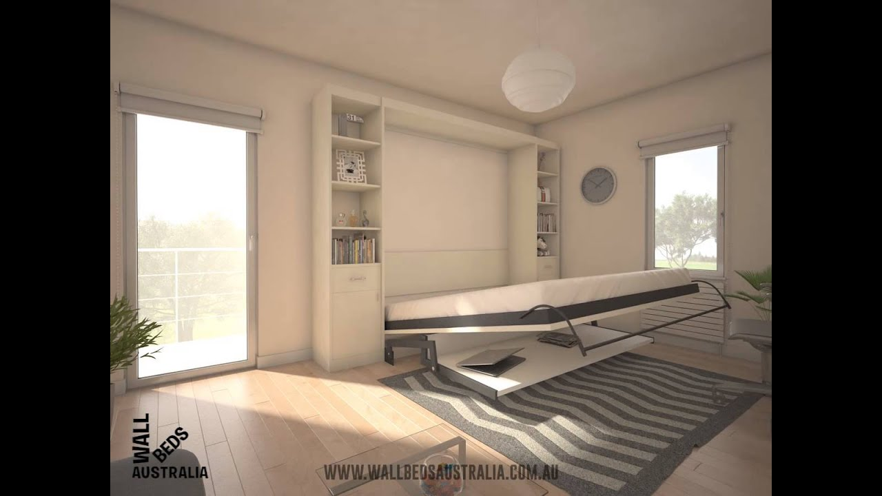 Wallbeds australia alpha wall bed with desk youtube - Beds attached to the wall ...