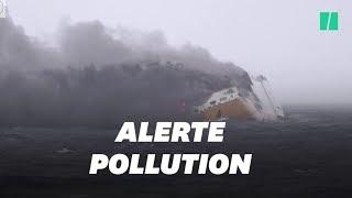 Les images du navire dont le naufrage menace de pollution la côte française