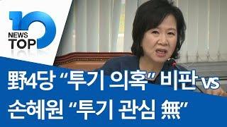 """野4당 """"투기 의혹"""" 비판 vs 손혜원 """"투기 관심 無"""""""