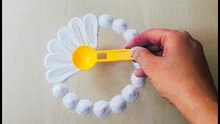 Very easy and creative rangoli design using spoon   इतनी आसान रंगोली जो आप भी बना लेंगे