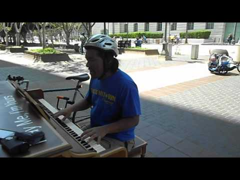 """5: """"Living for the City"""" on the 'Play Me, I'm Yours"""" street piano, L.A. City Hall East"""