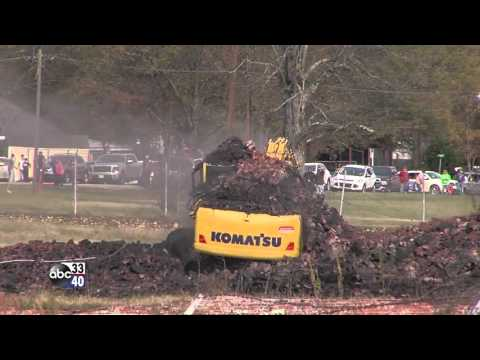 Avondale Mills smokestack in Pell City topples on top of trackhoe