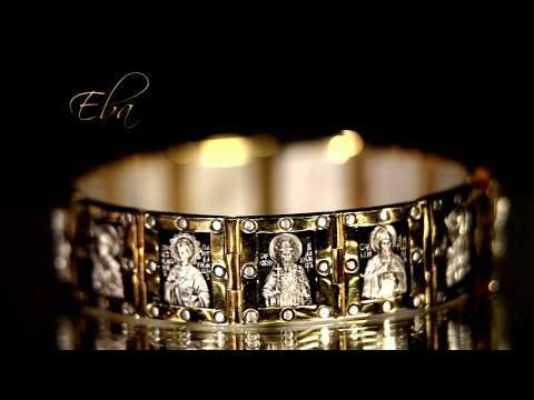 """Православный браслет """"Святые мужи"""". Серебро в позолоте."""