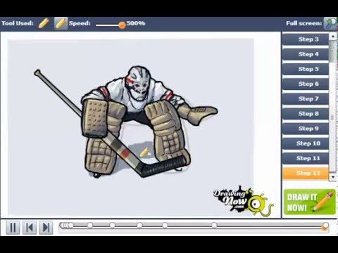 How To Draw A Hockey Goalie Youtube
