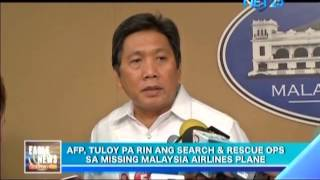AFP continues search and rescue operations in West Philippine Sea for Malaysia Airlines plane