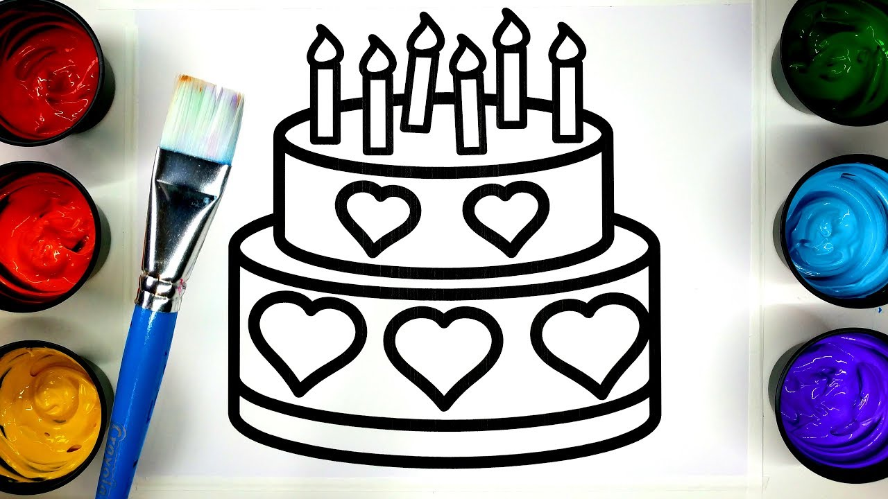 coloring birthday cake and butterfly coloring pages with painting ...
