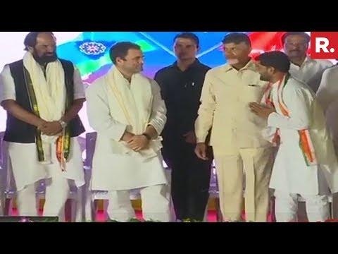 Rahul Gandhi, Chandrababu Naidu's Joint Campaign Rally In Hyderabad