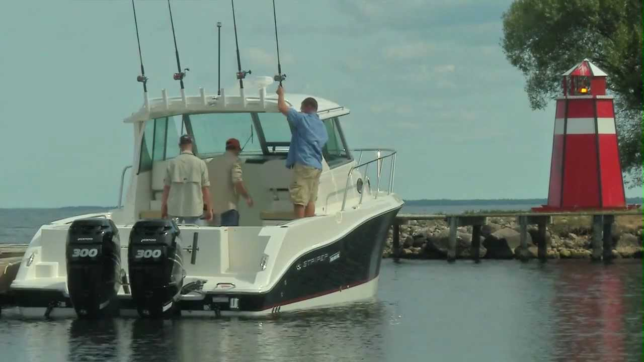 29 foot walkaround fishing boat by striper boats youtube for Fishing pontoons for sale
