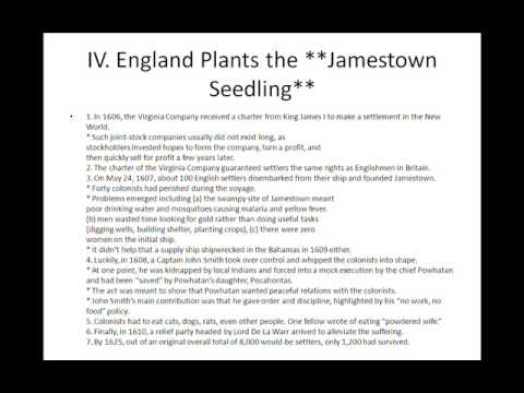 AP US HISTORY - Chapter 02 - The Planting of English America outline part 1