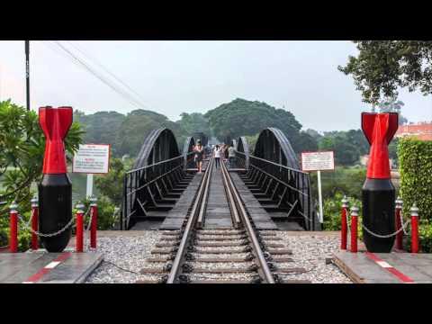 Railway of death - Bridge over the river Kwai. (Drone recording content)