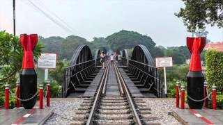 Railway of death - Bridge over the river Kwai. (Drone recording content)