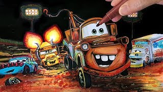 How to draw Mater vs Ms Fritter in Thunder Hollow CARS 3 drawing kids coloring pages Tim Tim TV