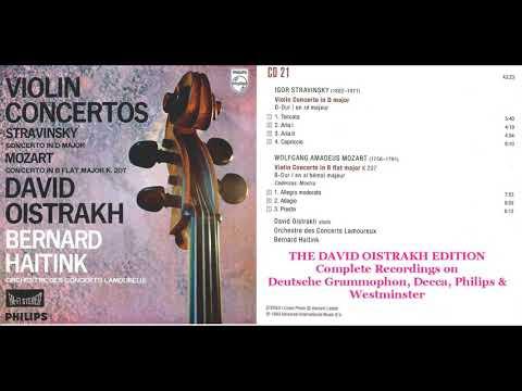 CD 21  David Oistrakh plays  Stravinsky Violin Concerto & Mozart Violin Concerto No  1 K207