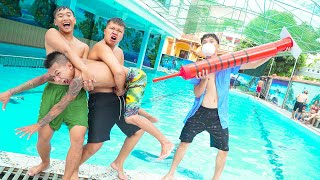Squad Boys Go Swimming Nerf Guns Pregnancy Prank Funniest Underwater at Pool | Action Nerf