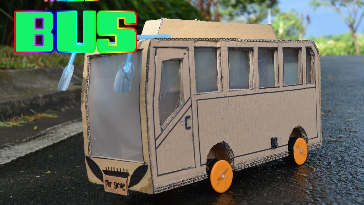 KEREN  Membuat Bus Dengan Kardus  Mainan Kendaraan