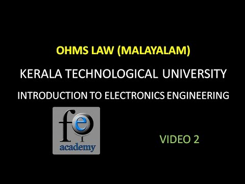 OHMS LAW|KTU|BE 101-04|INTRODUCTION TO ELECTRONICS ENGINEERING|UNIT1|VIDEO2|(MALAYALAM)