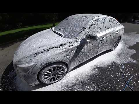 Infiniti Q50 Red Sport FOAM WASH - Black Dirty Car Wash   Auto Fanatic