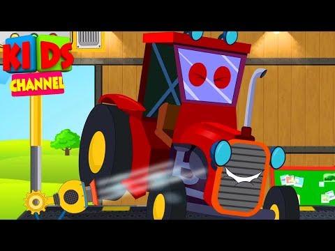 Tractor - Car Wash - Farm Vehicles - Kindergarten Videos - Kids Show for Children by Kids Channel - 동영상