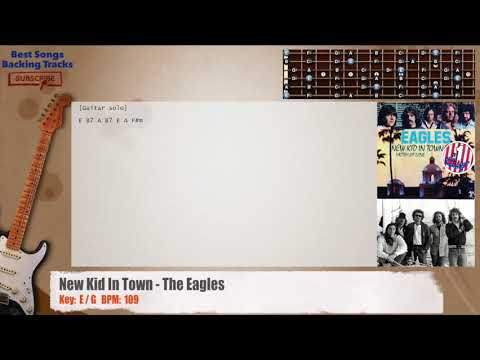New Kid In Town - The Eagles Guitar Backing Track with chords and lyrics