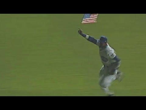 Sosa Circles Wrigley Waving An American Flag