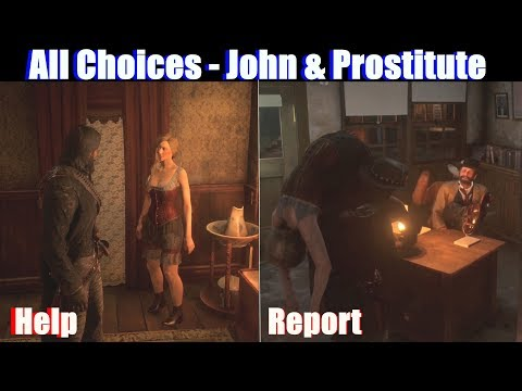 RDR2 John Helps Prostitute vs Reports Her - Red Dead Redemption 2 PS4 Pro