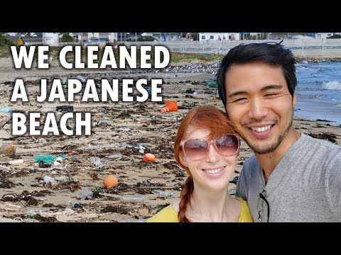 We cleaned a Japanese beach! #trashtag