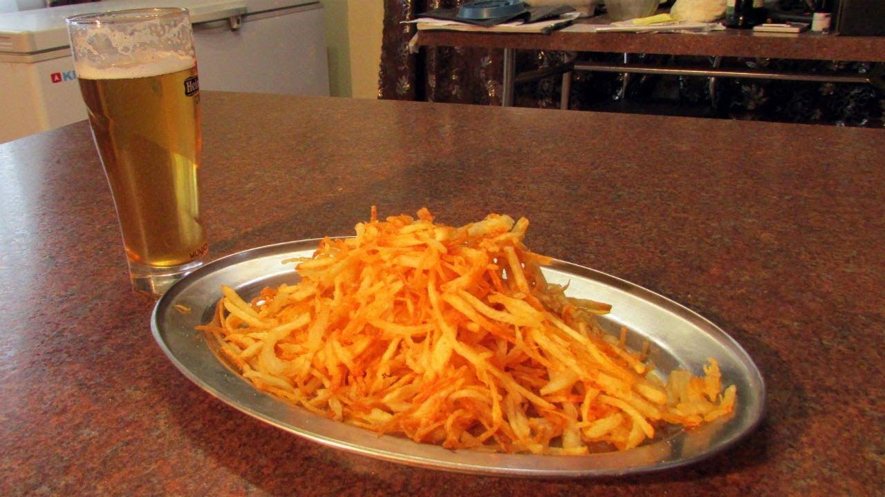 Закуска к пиву рецепт простой картофельной соломки / Мужские закуски / #СамогонСаныч