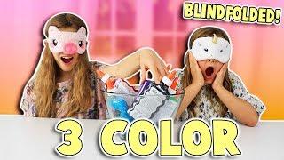 3 COLORS OF GLUE SLIME CHALLENGE Blindfolded! | JKrew