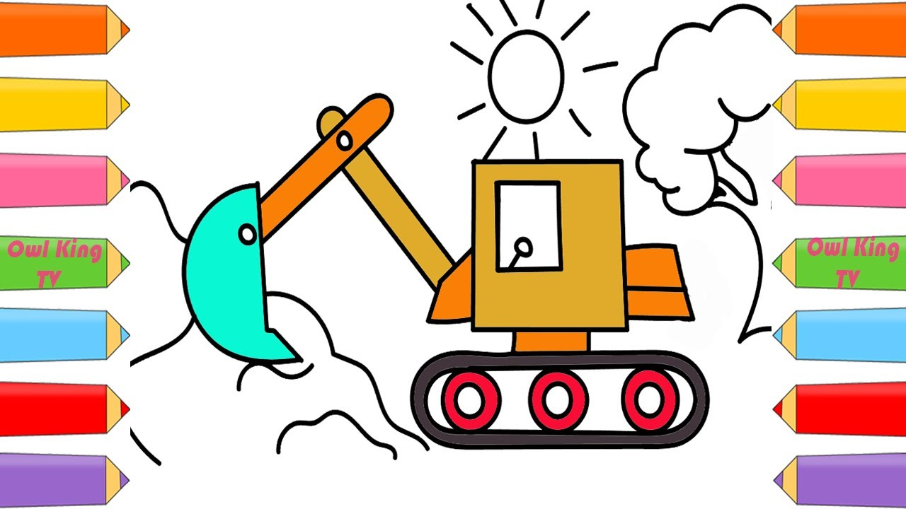 how to draw excavator coloring pages for children nursery