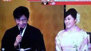 女優:藤原紀香と歌舞伎役者:片岡愛之助が本日午後、帝国ホテルにて結...