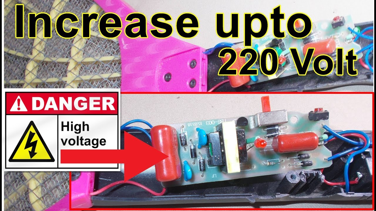 increase mosquito killer power upto 220 volt repair mosquito insects killer bat at home [ 1280 x 720 Pixel ]