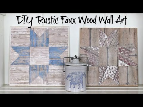 DIY Rustic Faux Wood Wall Art | Ohio Star Quilt Block | Scrapbook Paper Craft
