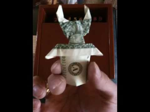 Pop Up Origami Bunny In Tophat Paper Money Youtube