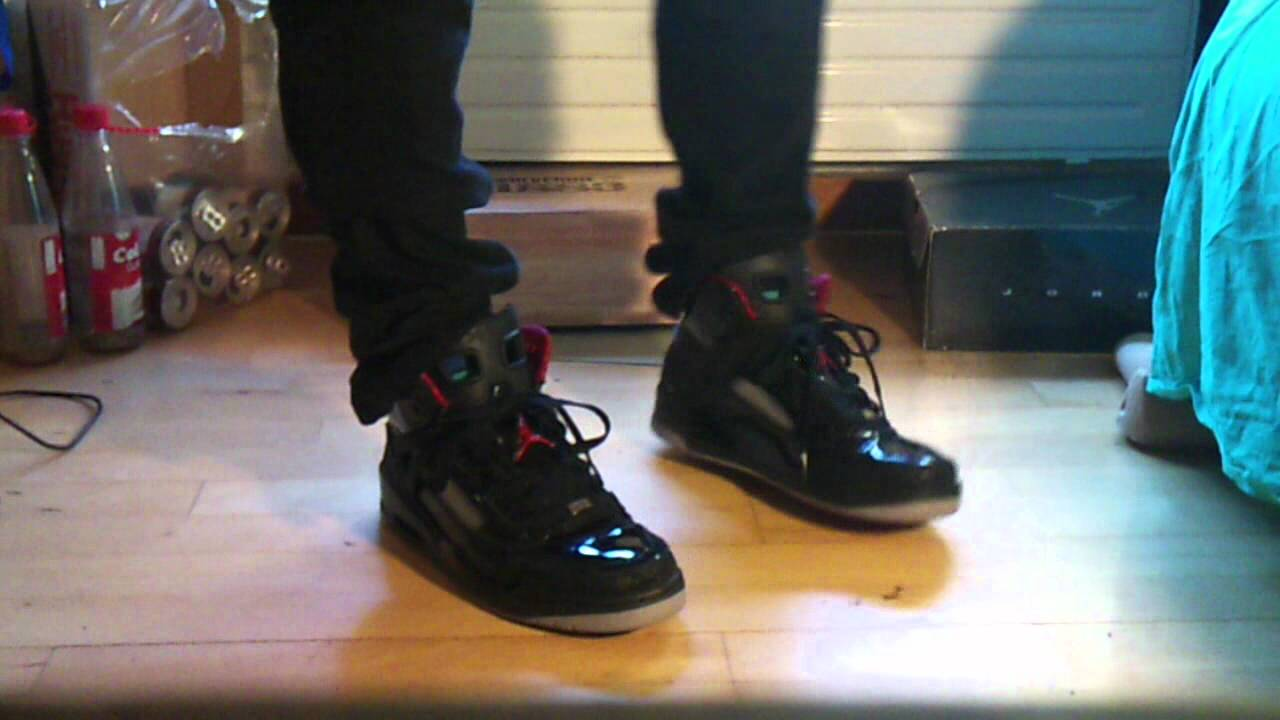 various colors 22eb4 f576d Air Jordan Spizike Black Stealth  On feet. - YouTube
