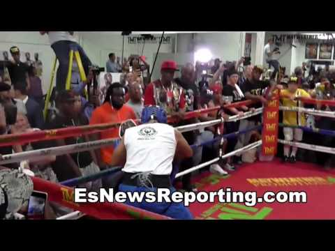 Floyd Mayweather Full Workout Sparring Mitts Bag Work Jump Rope