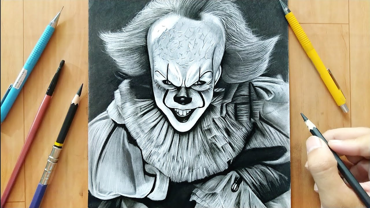 Realistic Sketch Pennywise Drawing Easy