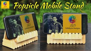 How to make mobile holder with popsicle sticks   DIY Ice Cream Stick Mobile Stand   Popsicle Craft