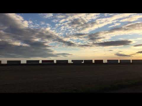 Sunset train near Allan, Saskatchewan by Kathleen O'Grady