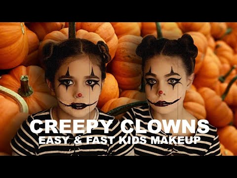 Creepy Clown Twins || Easy And Fast Kids Halloween Makeup || Chelsea Smile