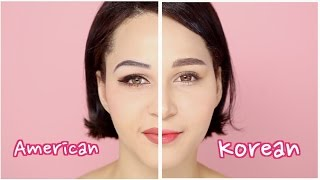 KOREAN VS WESTERN MAKEUP | feat Wishtrend TV