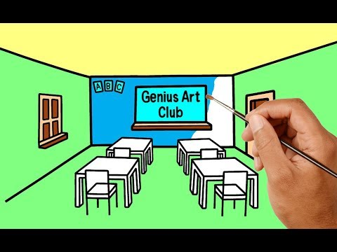 How To Draw A Class Room With Colors For Children  Learn
