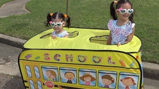 The Wheels on the Bus song  Sam and Abby pretend play