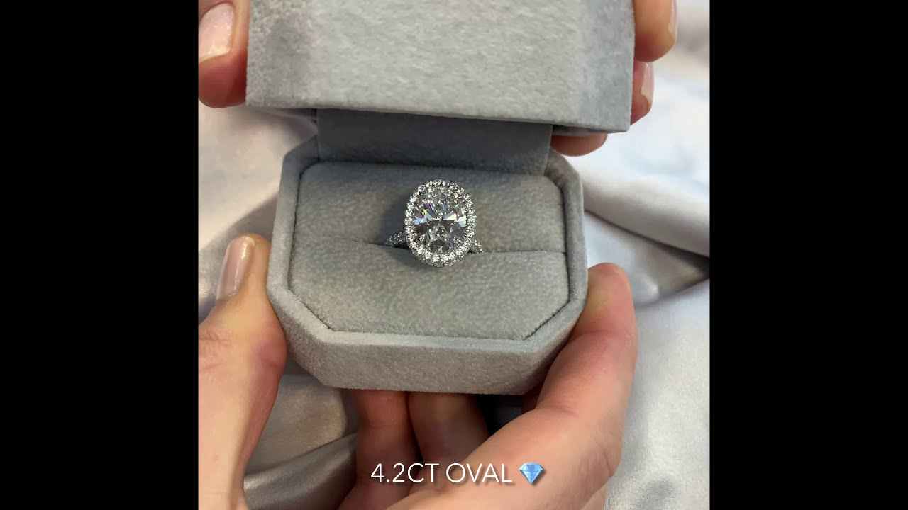 4.2 carat Oval Moissanite Three Row Band Engagement Ring