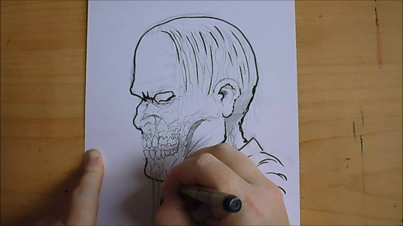 Zombie Face Line Drawing : Sketching army nazi zombie concept youtube
