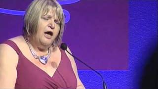 Sylvia Lancaster accepting the Ray Sale Chairmans Awards at the Roses Advertising Awards 2010